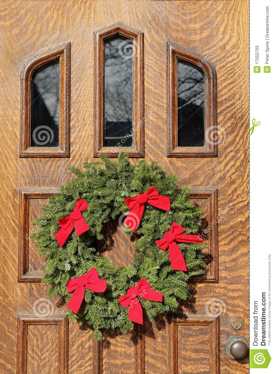 Front Door With Christmas Decorations Stock Image Image