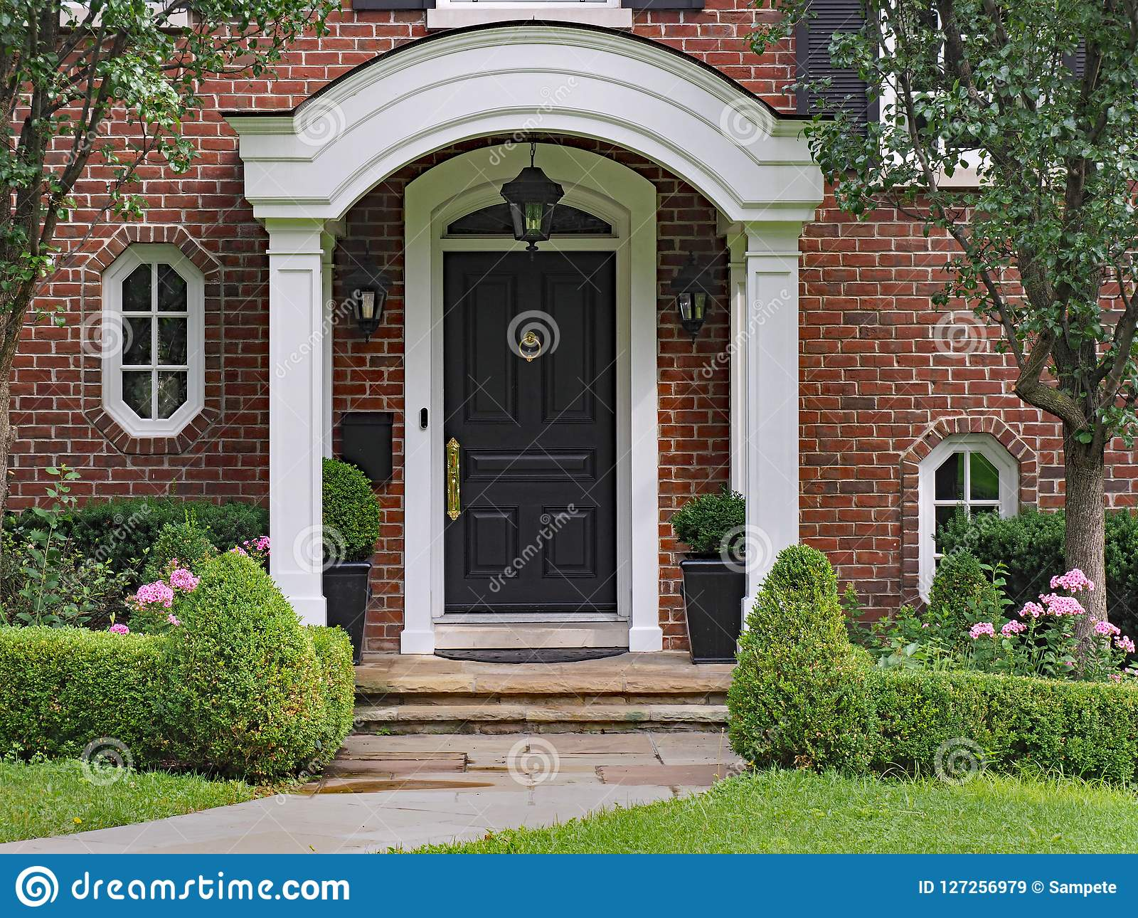 Front Door With Curved Portico Roof Stock Image Image Of Home