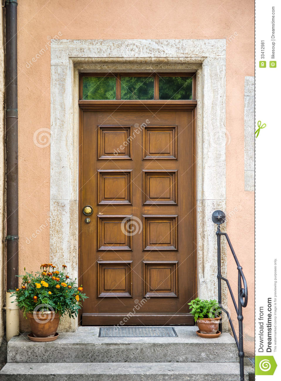 front door with decorative flowers stock image image