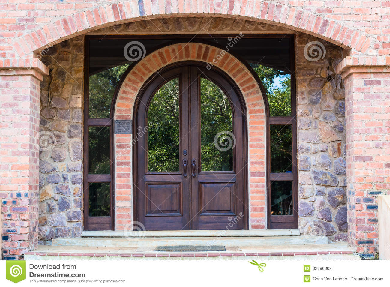 Front Door Home Arch Stone Wood Stock Photo Image 32386802