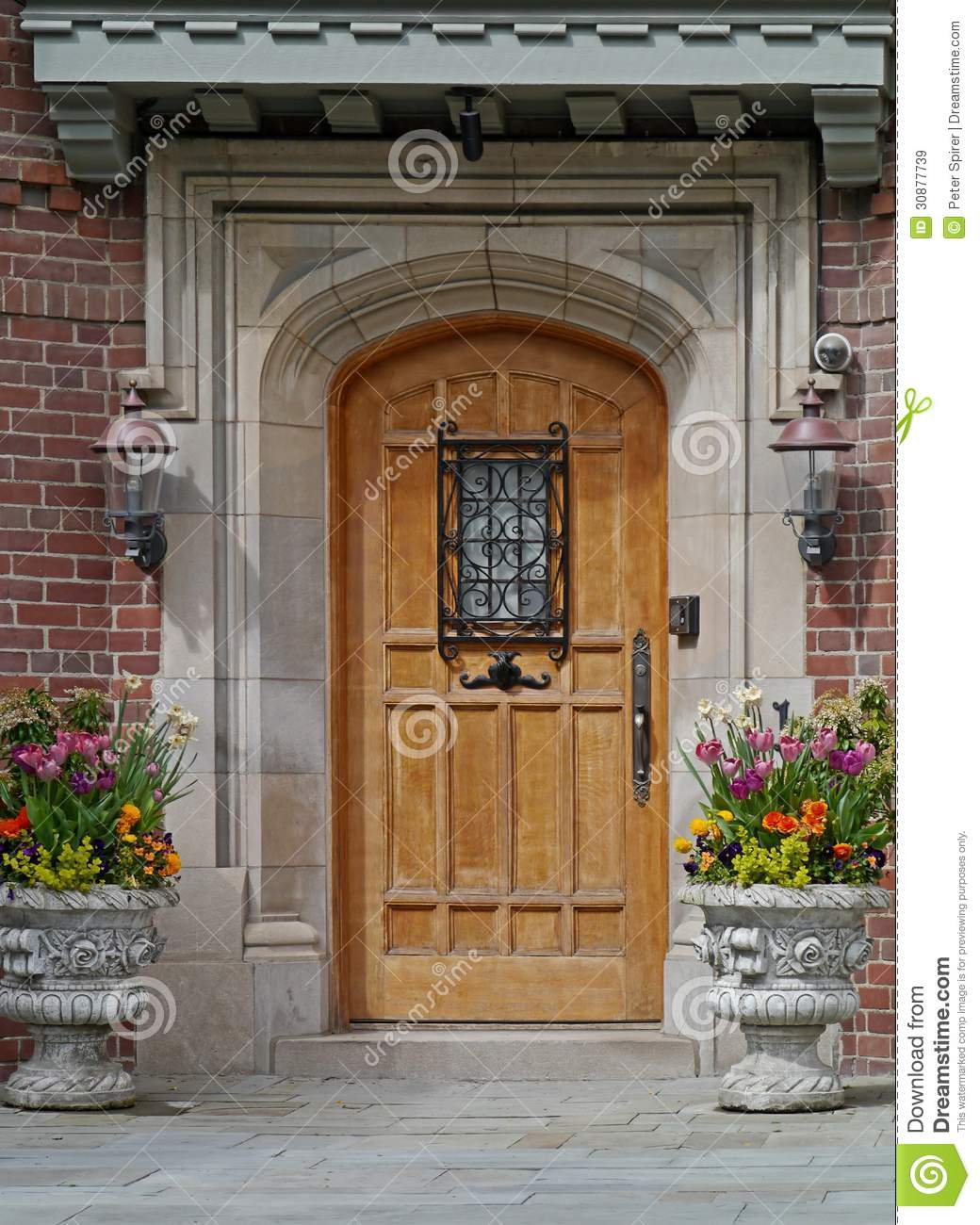 Front door of house with flower pots royalty free stock for New front door for house