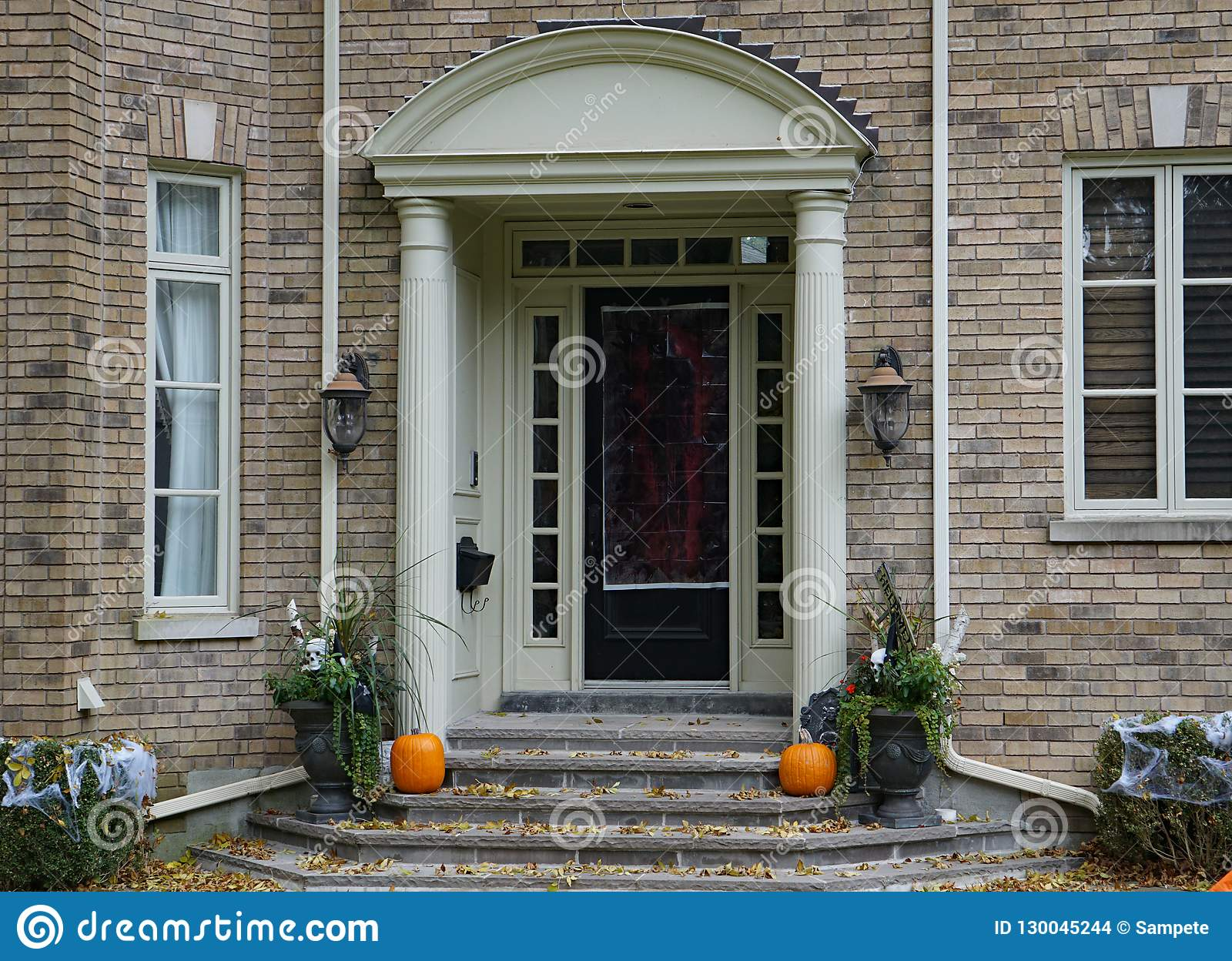 Halloween Decorations On Front Steps Stock Photo Image Of Pumpkin