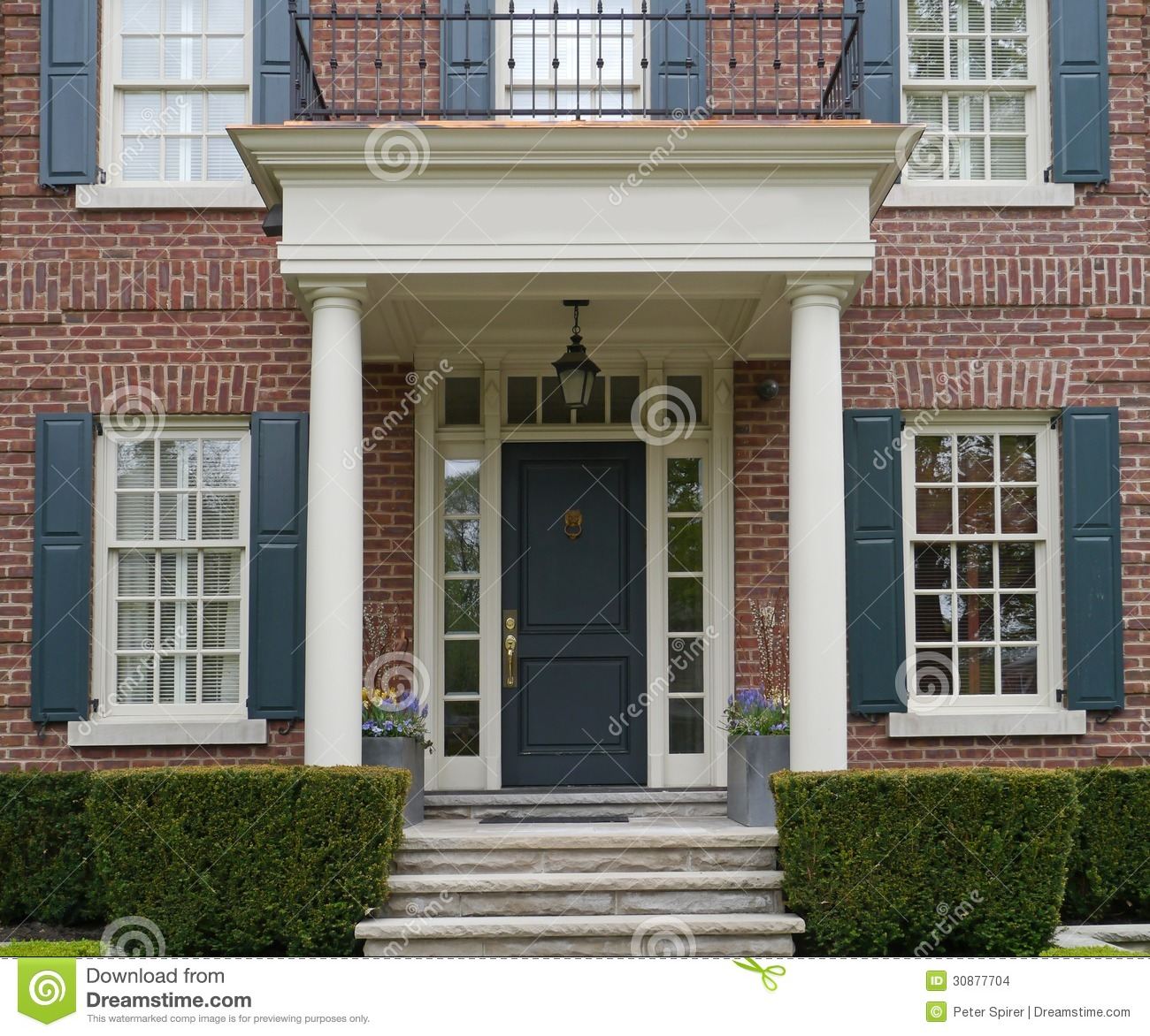 Front Door Of House With Porch Stock Photo Image Of