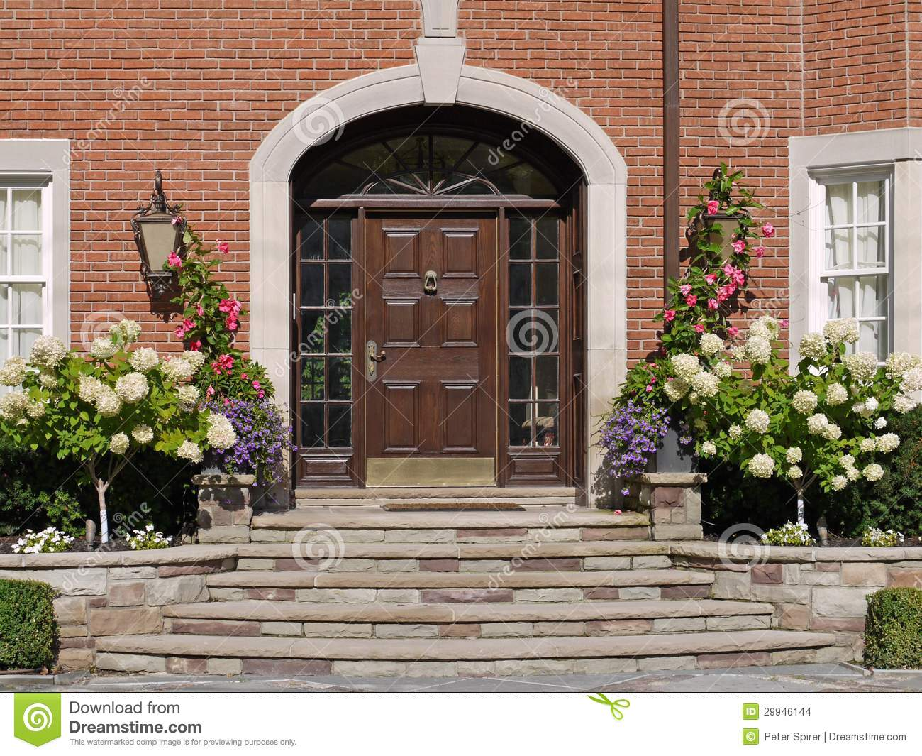 Front Door With Hydrangeas Stock Photo Image Of Luxurious