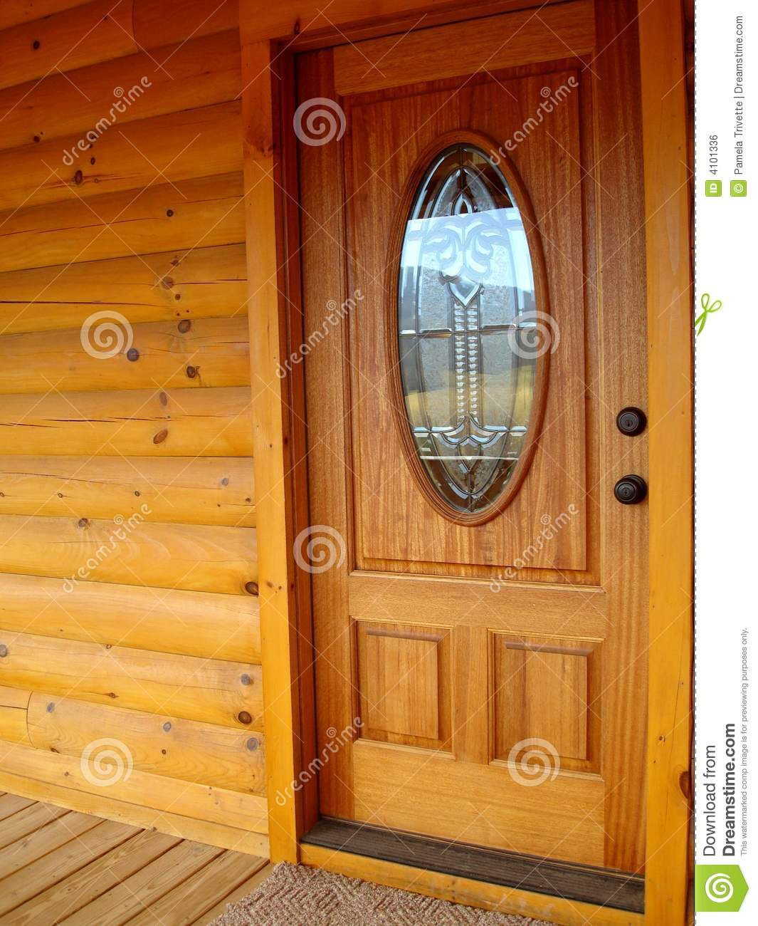 Front door log cabin stock photo image of newly wall for Log house doors