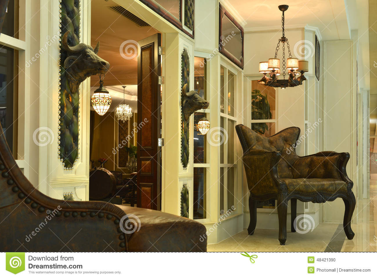 Front Door Of Luxury Villa At Night Stock Photo - Image of apartment ...