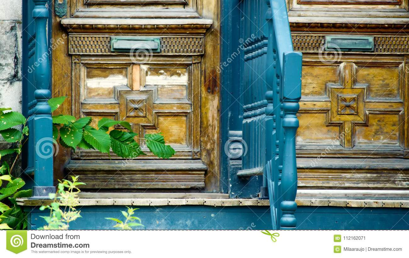 Front Door With Mail Slot Old Fashioned Wood Doors Stock Image