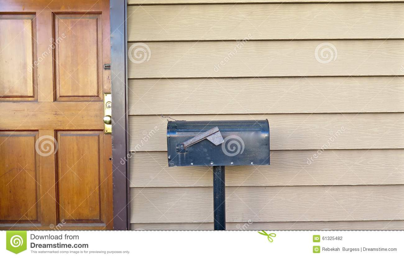 Download Front Door And Mailbox Stock Photo. Image Of Post, Deliver    61325482