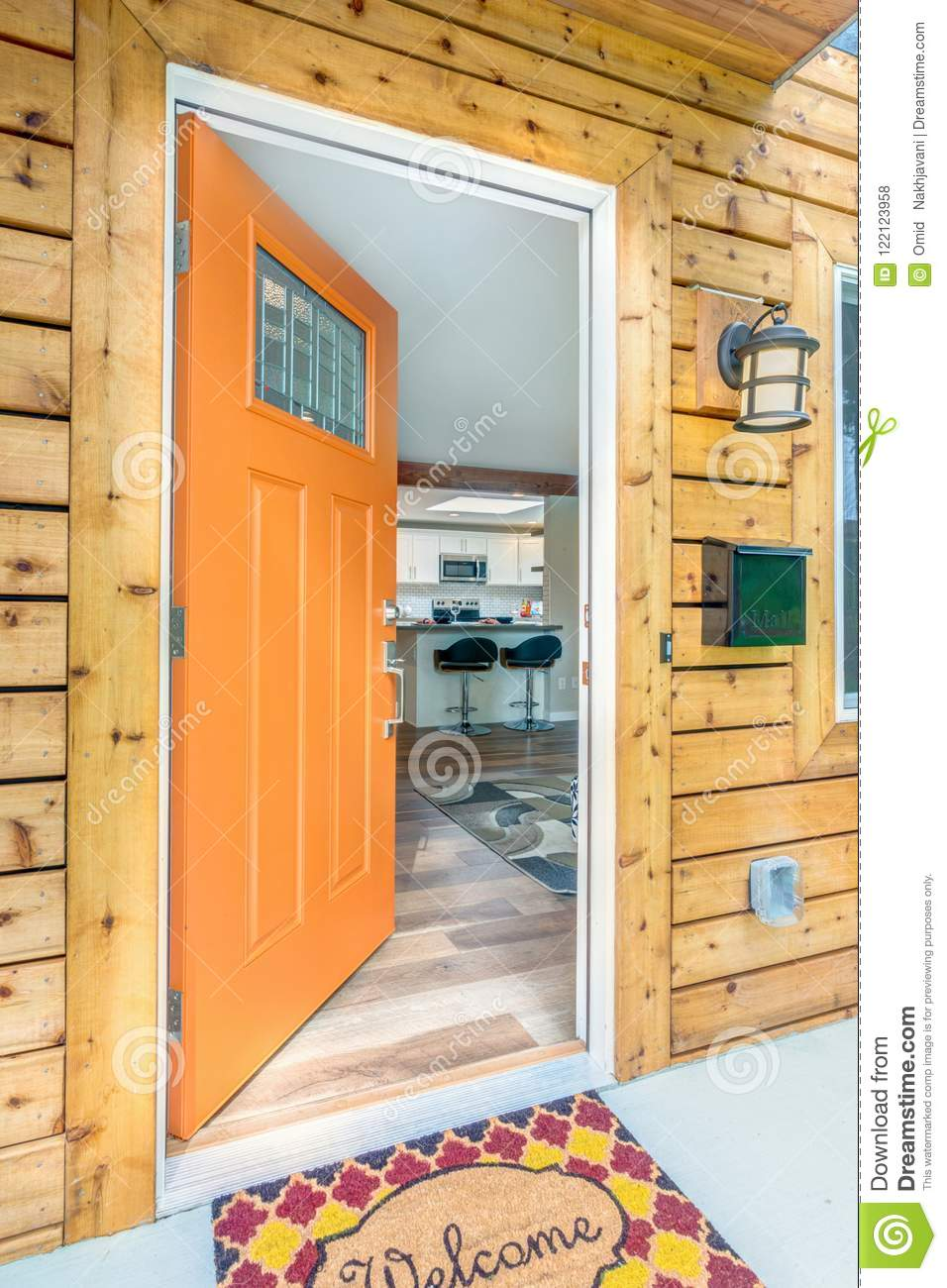 Front Door Opens Into A Kitchen Stock Photo Image Of Front