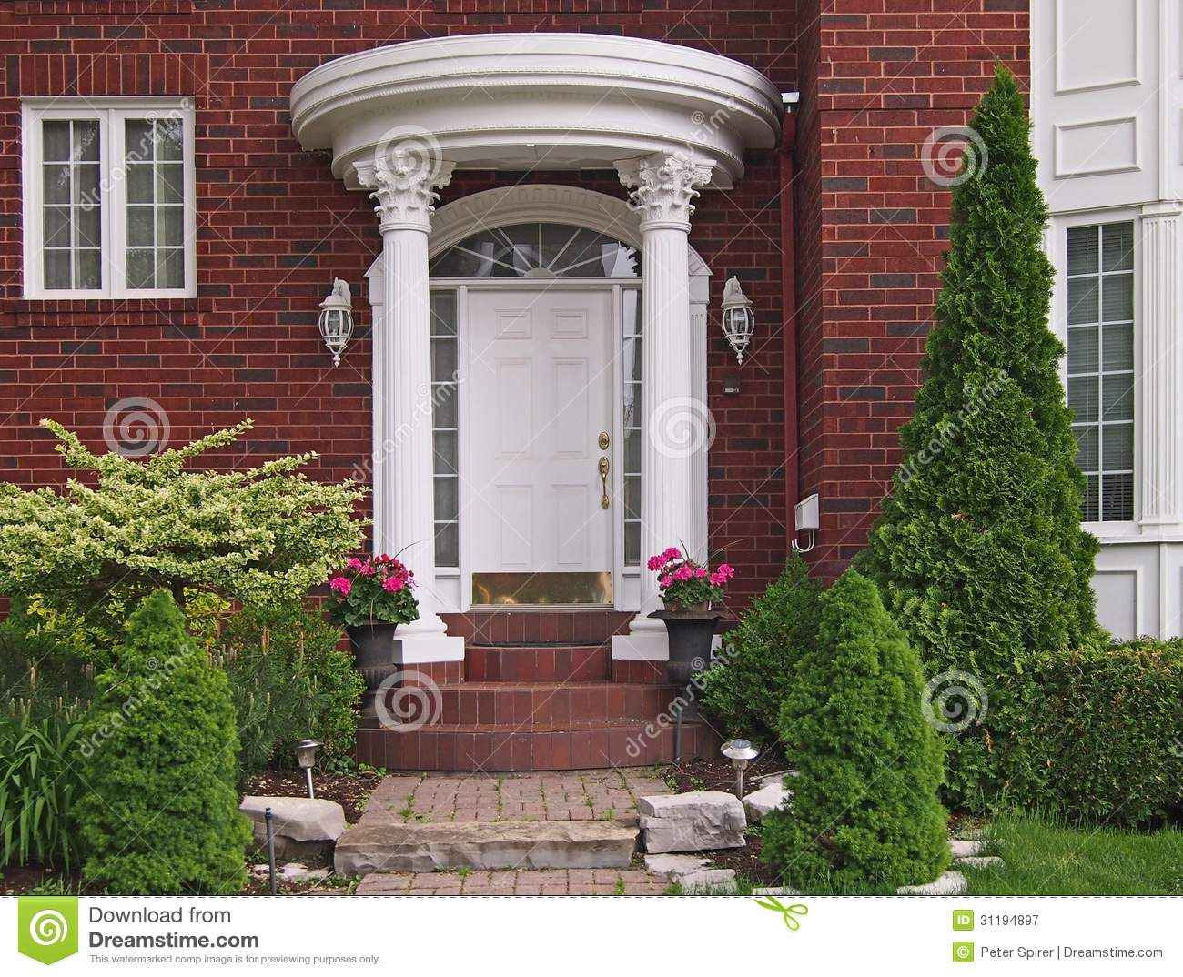 Entrance With Portico Columns : Front door with portico stock image of home brick