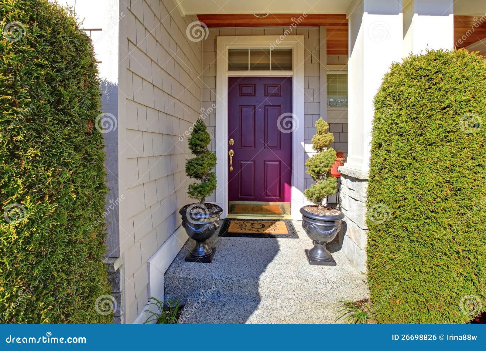 Front Door In Purple Plum Color Stock Photo Image Of Steps