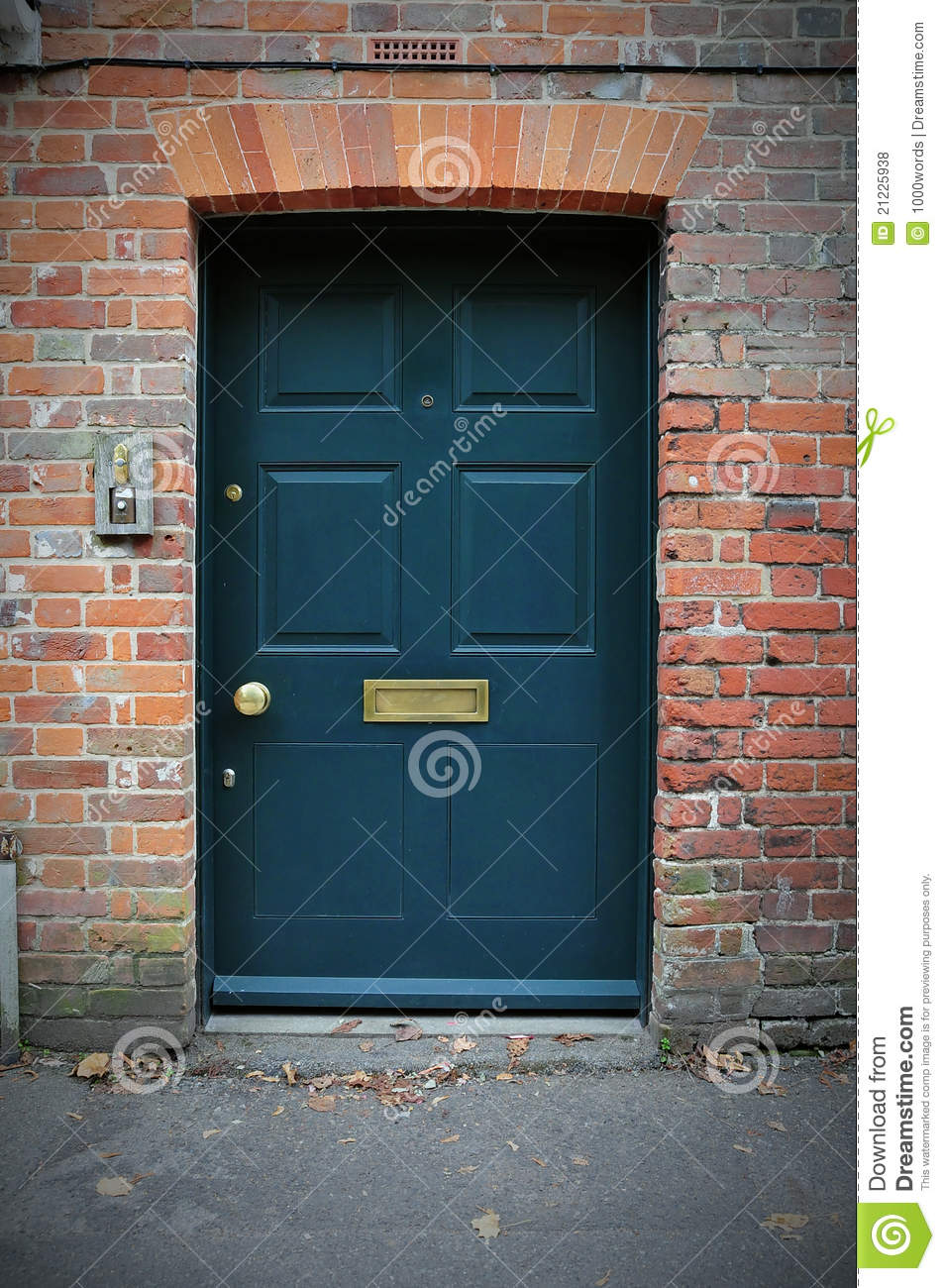 Front Door Of A Red Brick House Stock Photo Image Of