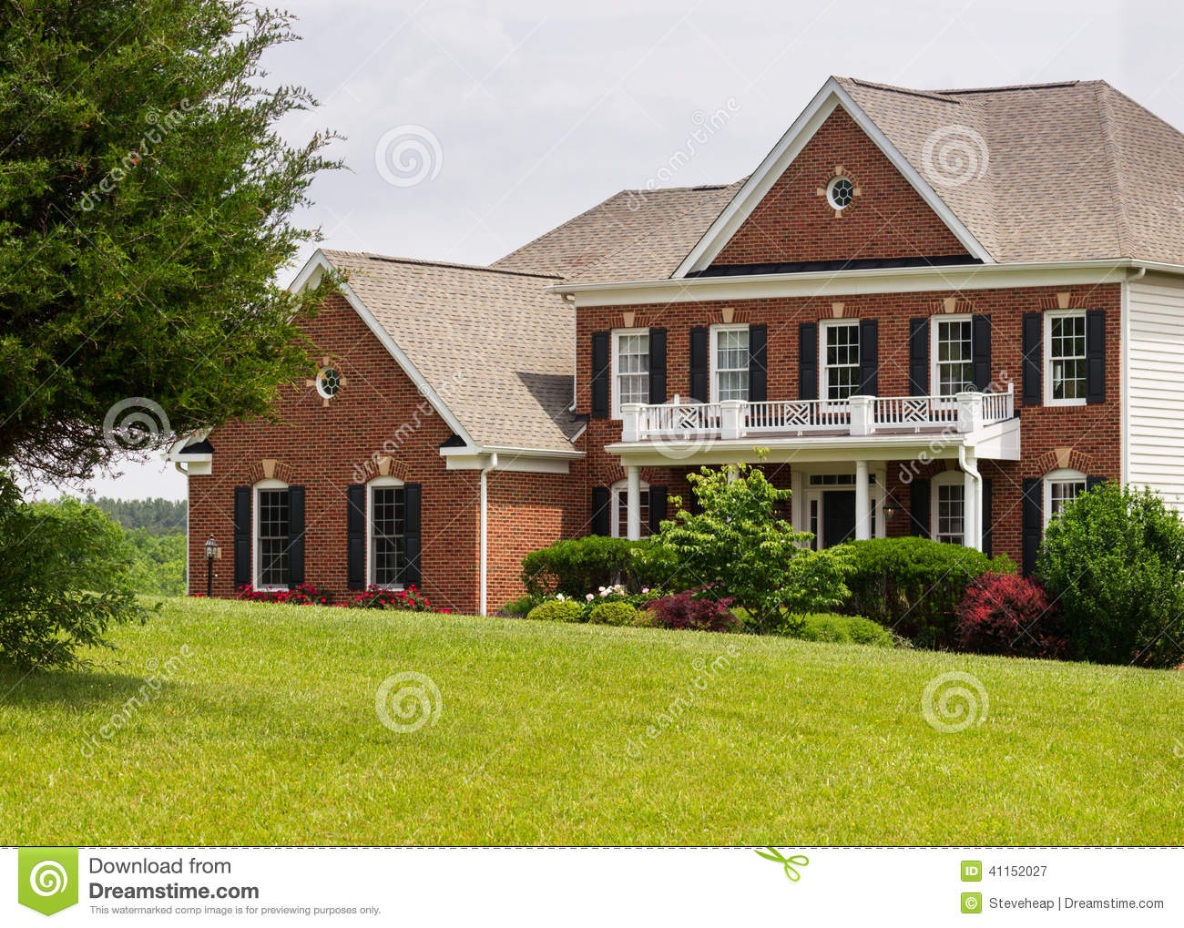 Front Elevation House Usa : Front elevation large single family home stock photo