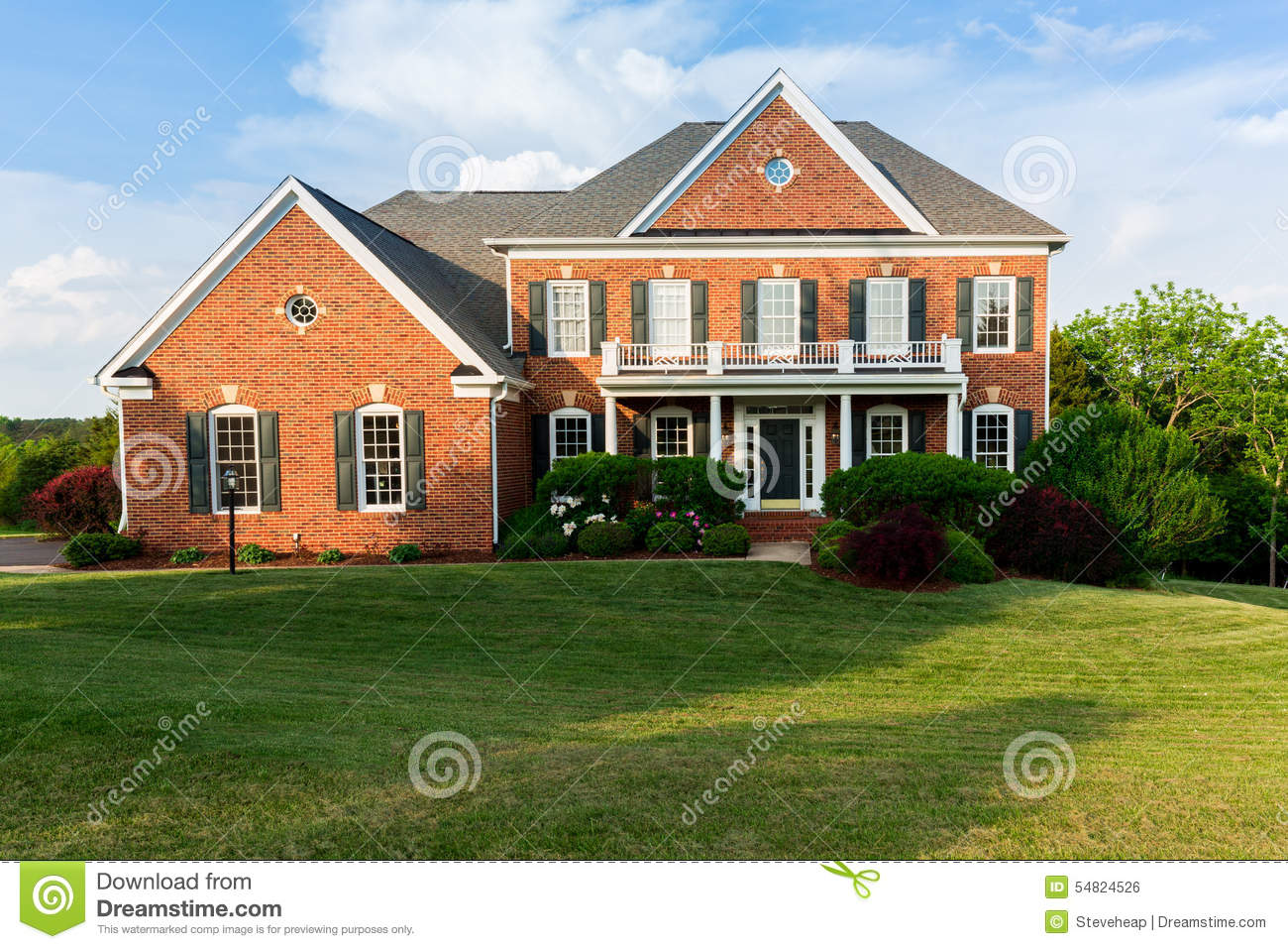 Single Home Front Elevation : Front elevation large single family home stock photo