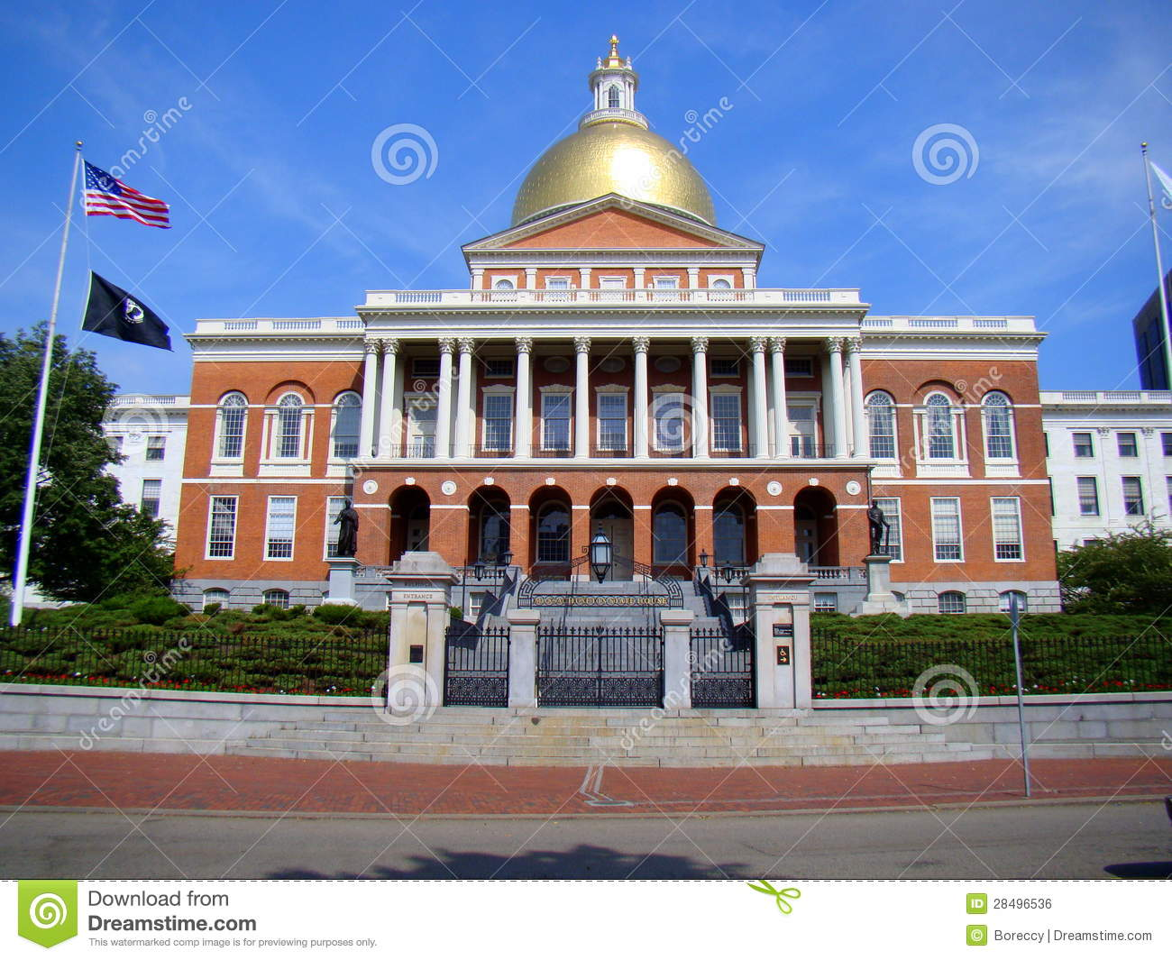 Front Elevation of Massachusetts State House, Boston Editorial Photo