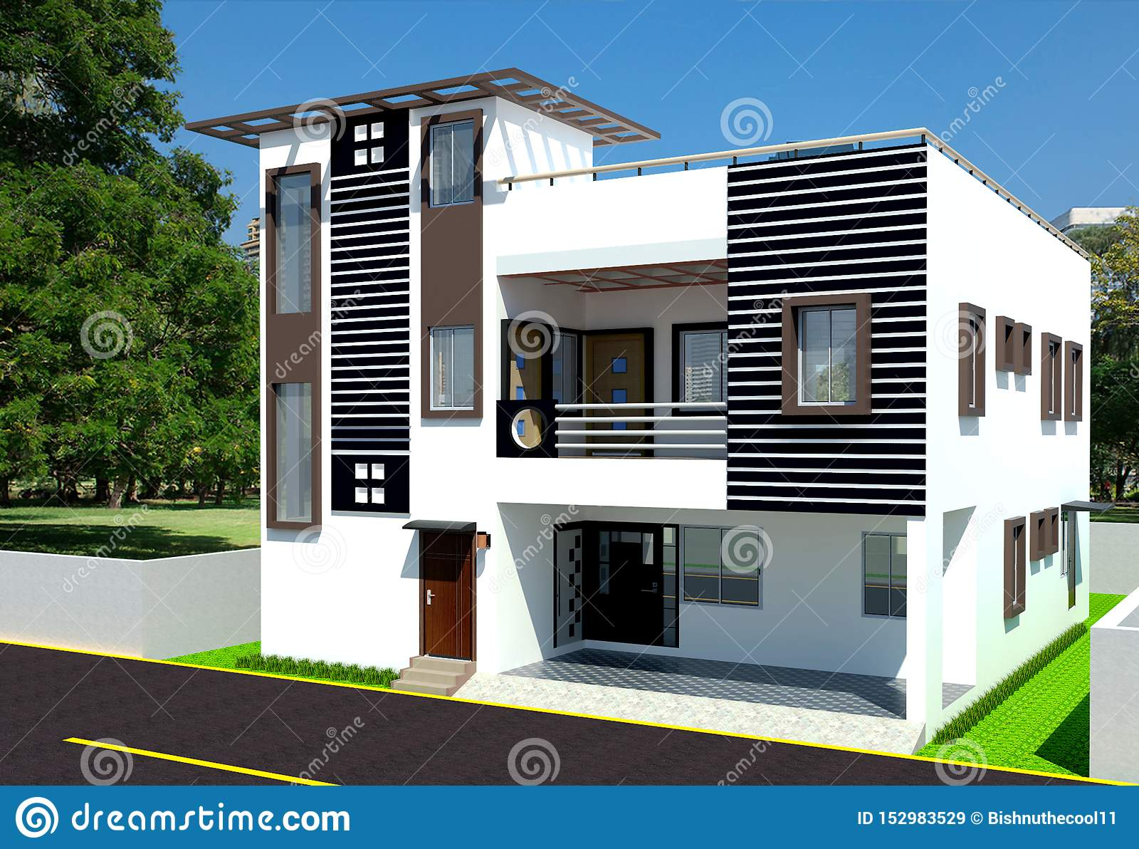 Front Elevation Residential Building Stock Image Image Of Residential Elevation 152983529