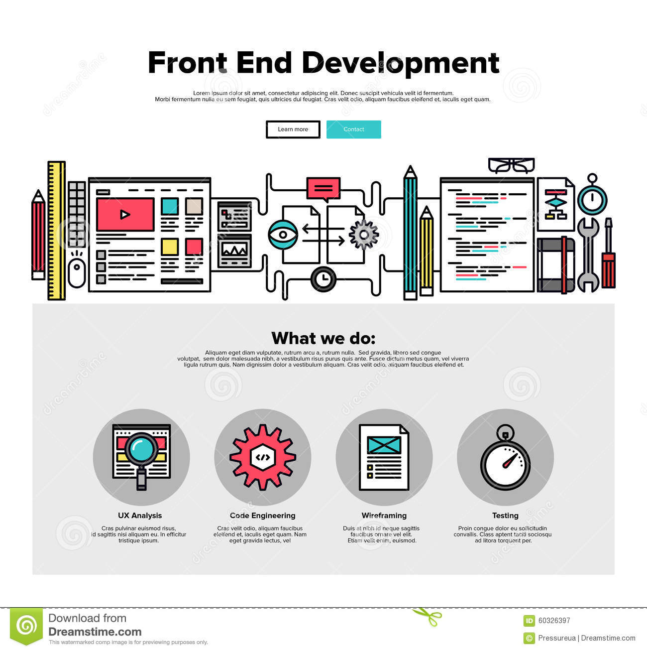 Front End Development Flat Line Web Graphics Stock Vector