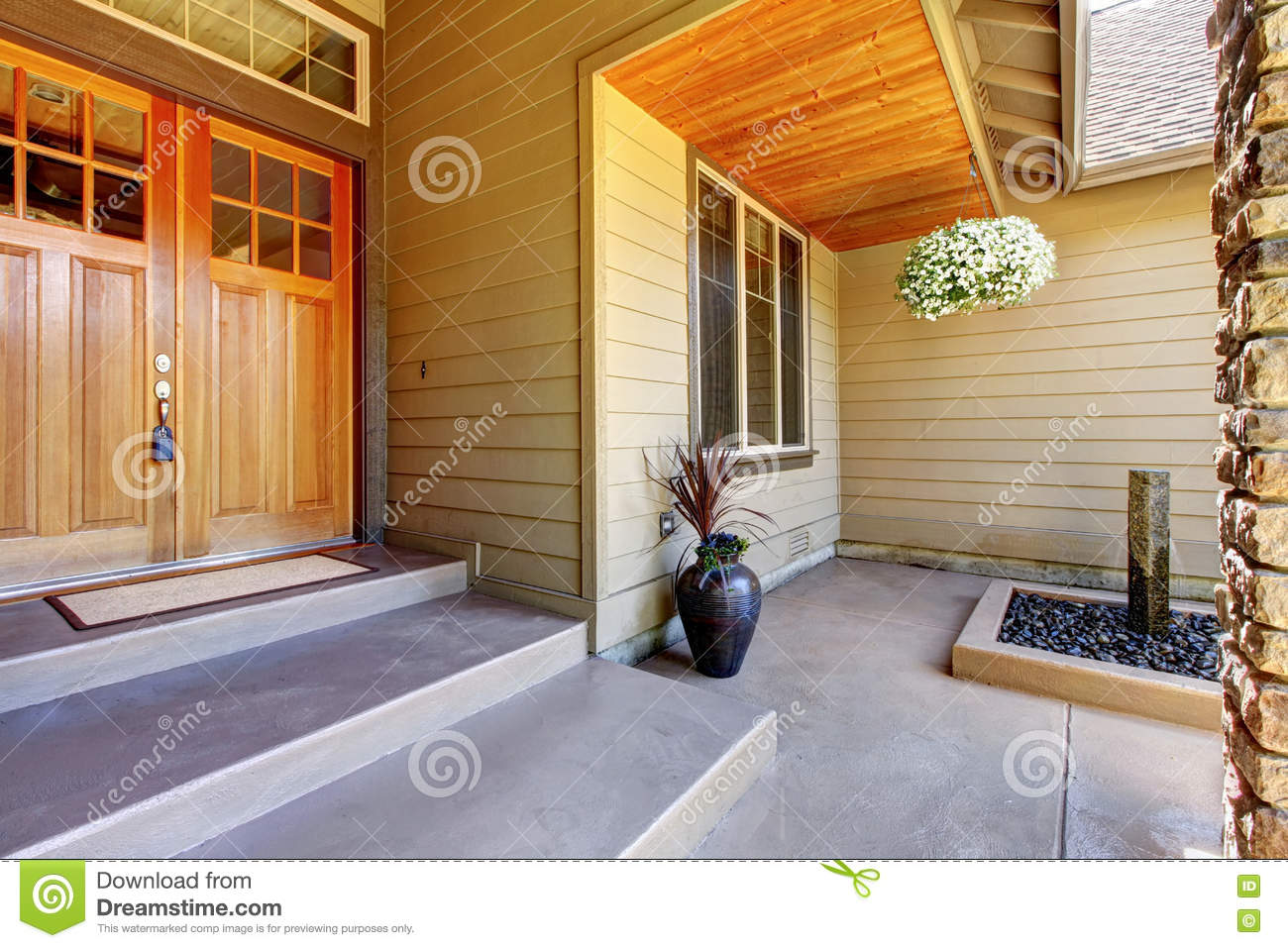 Front Entrance Door. Exterior Of American Two Story House Stock ...