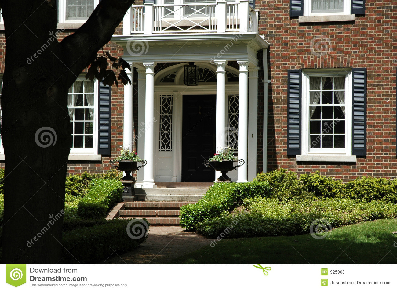 Front Entrance With Urns Stock Photo Image Of Grass