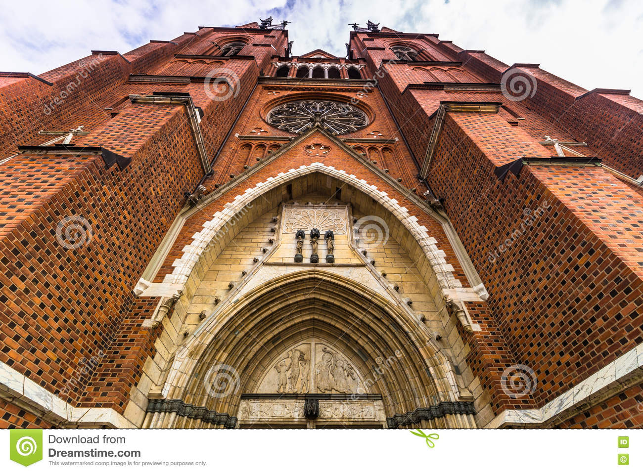 Front facade of Uppsala Cathedral, Sweden