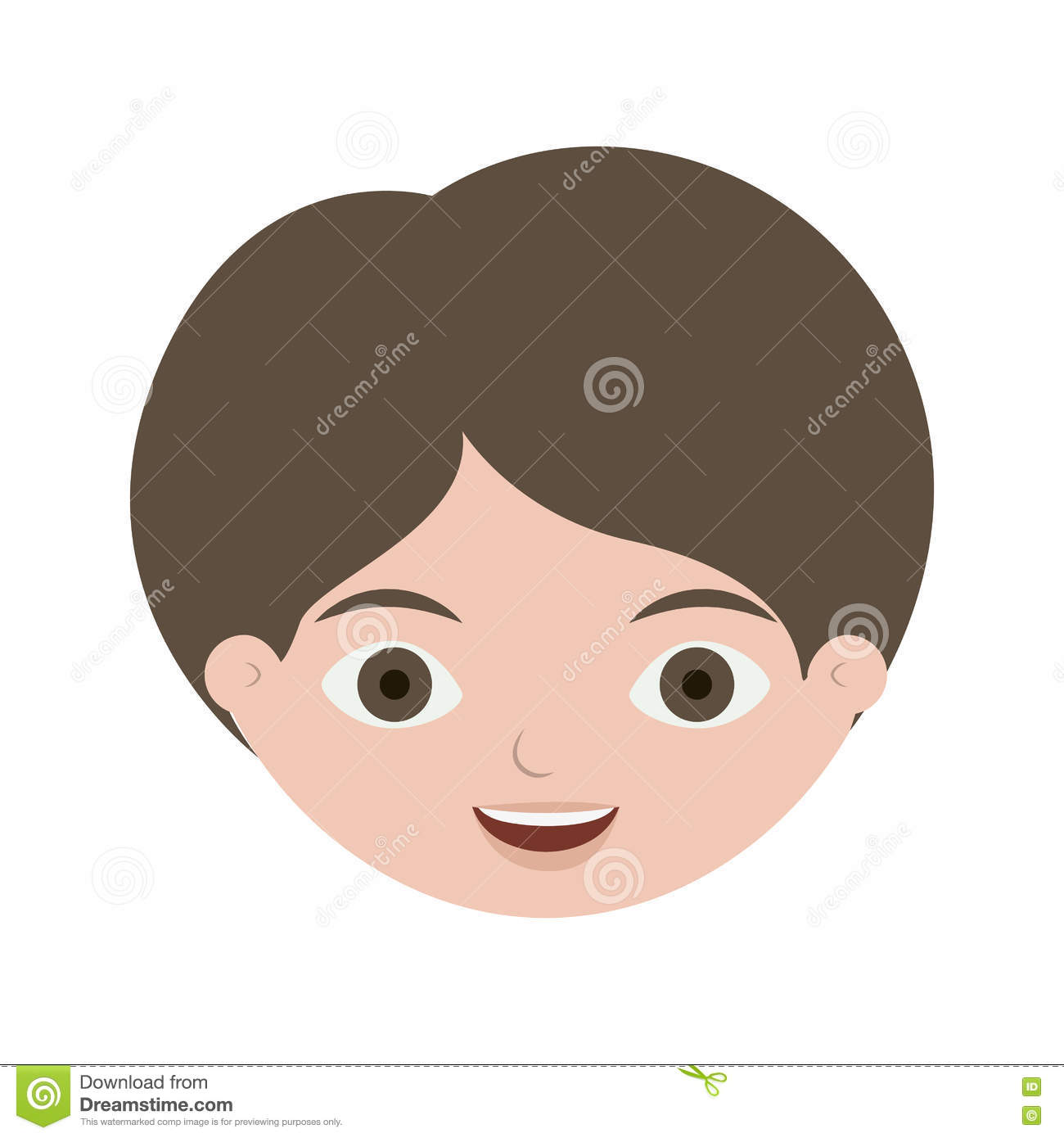 Front Face Boy With Brown Hair Illustration 80951509 Megapixl