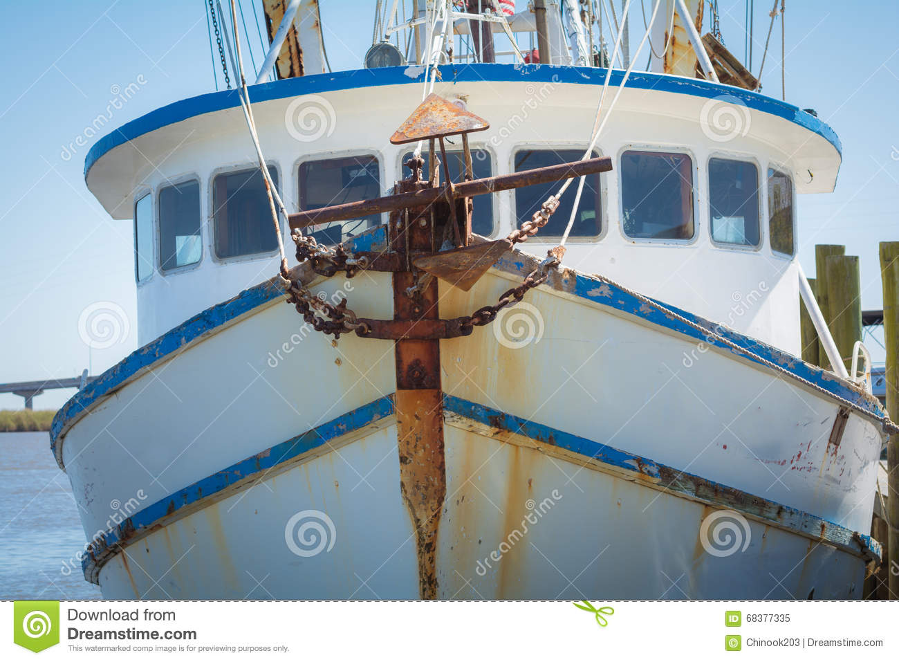Front Of Fishing Boat With Anchor Stock Image - Image of ...