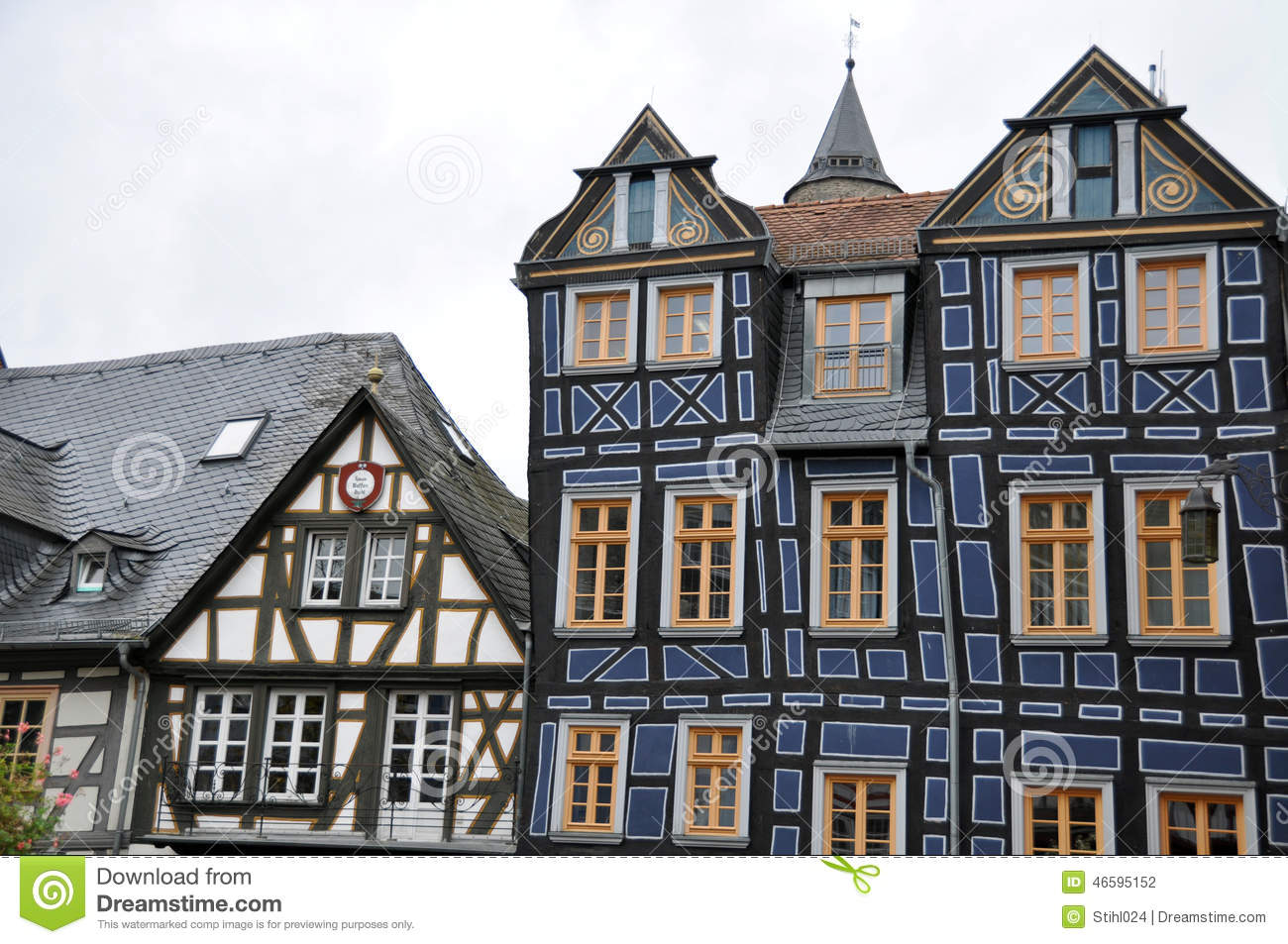 Front gables of half timbered houses in germany stock for Half timbered house plans