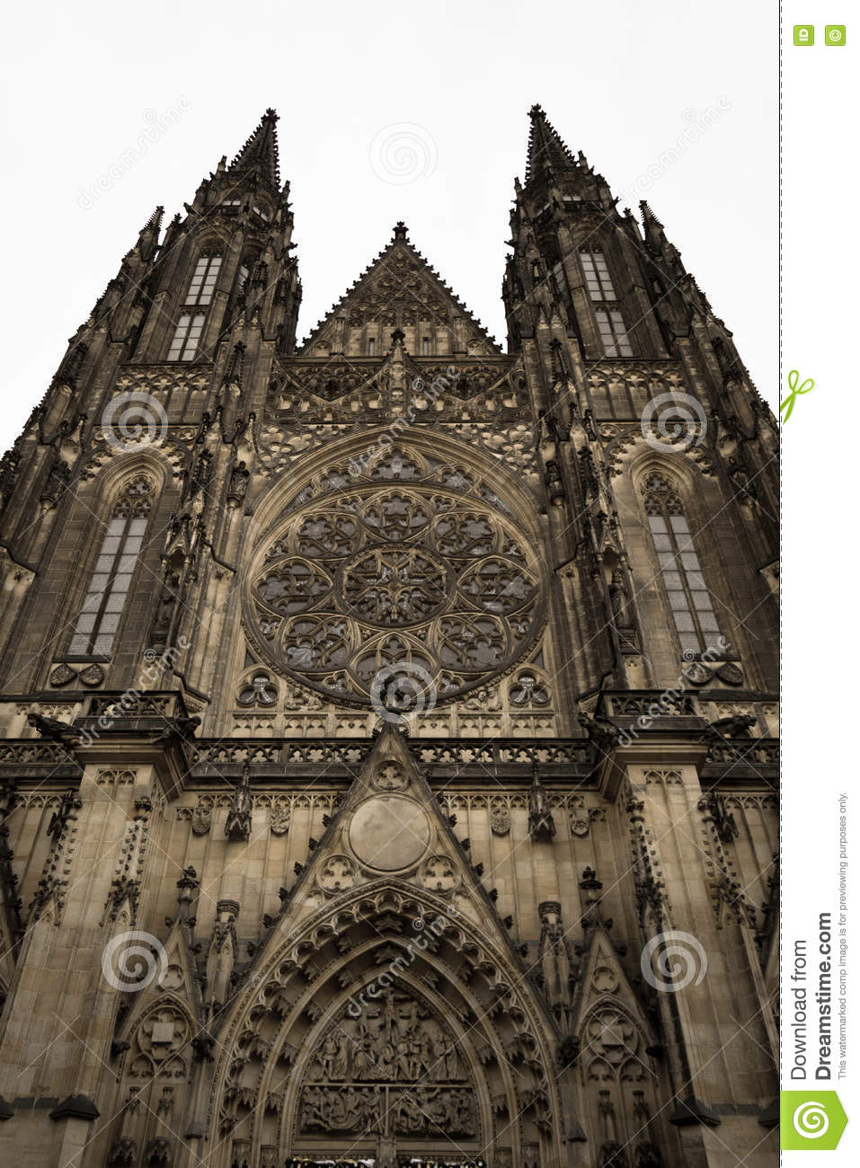 Front of the gothic vysehrad cathedral in prague with for Door z prague