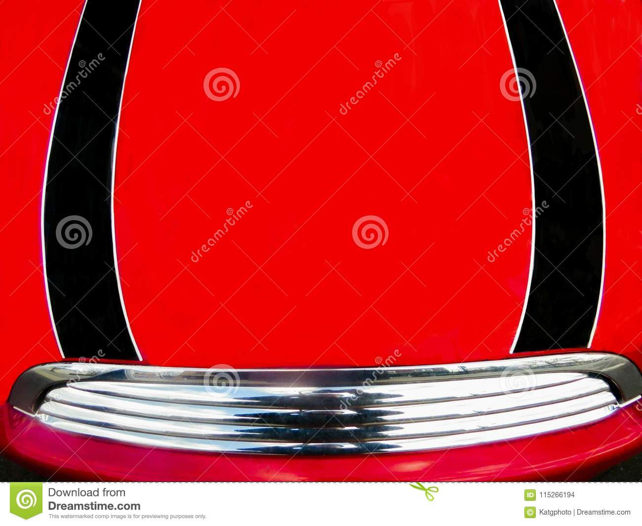 Black And Red Car Hood With Silver Bumper Stock Photo Image Of