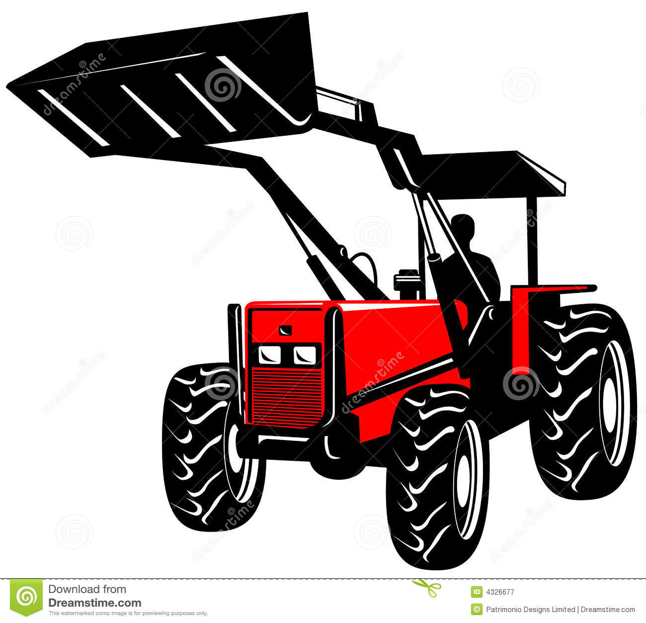 Tractor Front Grill Clip Art : Front loader on white royalty free stock photography