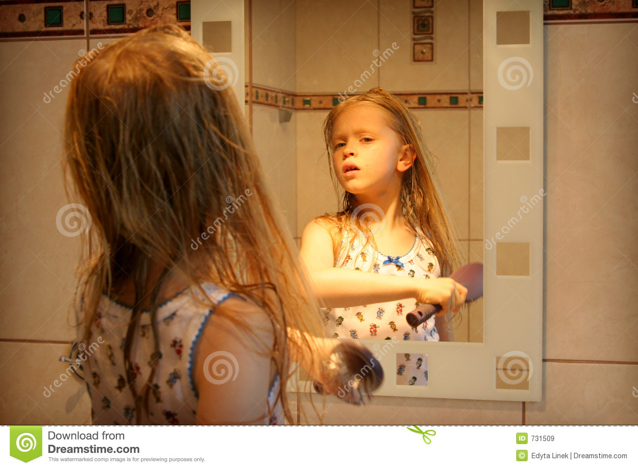 In Front Of The Mirror Stock Image Image Of Infant