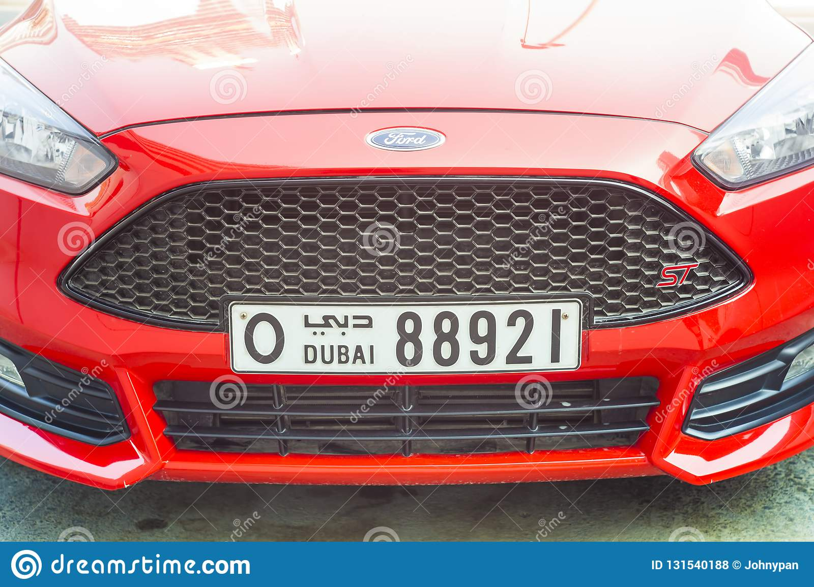 Front Of Modern Sports Car With Dubai Number Plate Editorial Stock