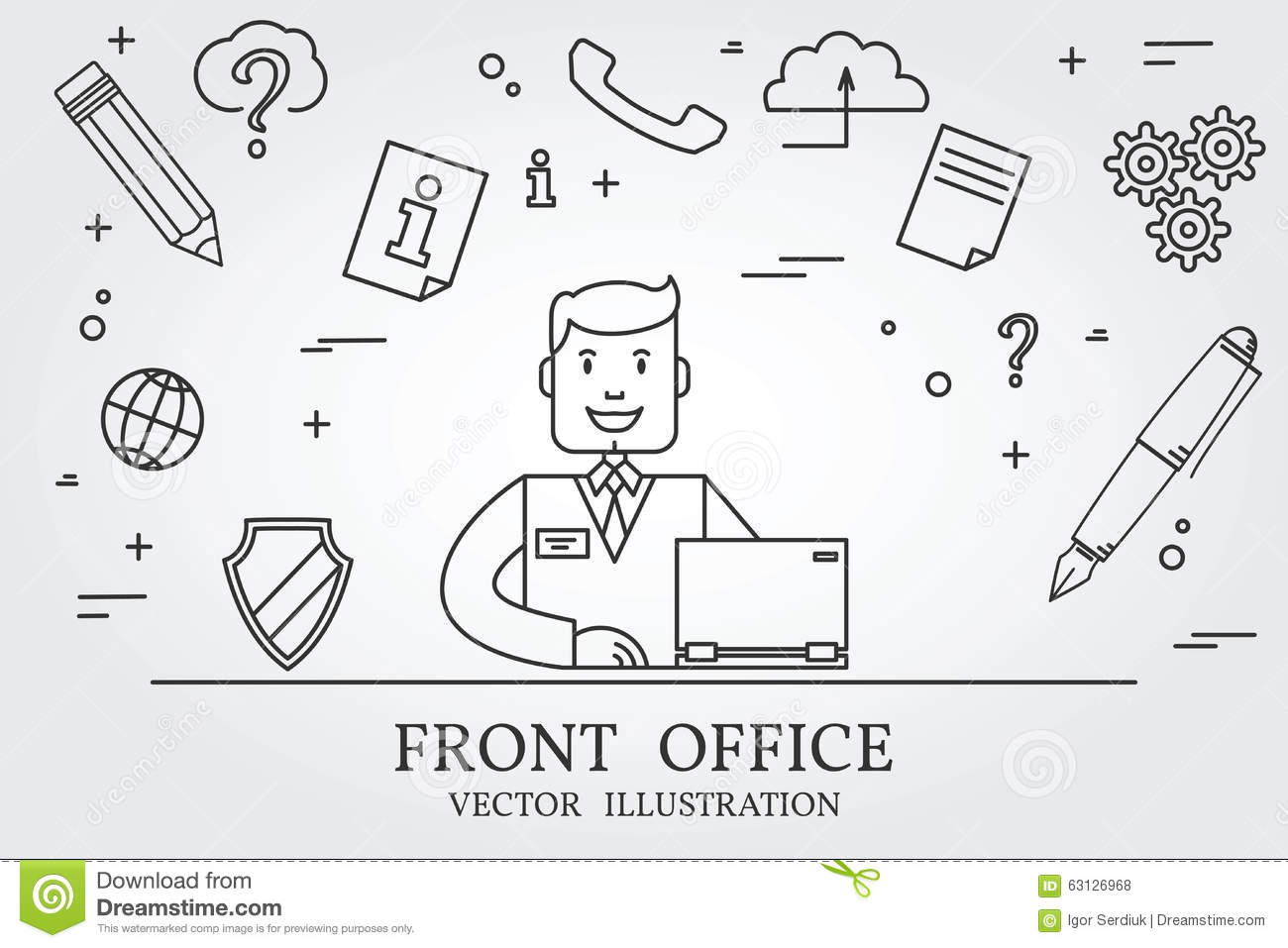 Front Office Think Line Icon Vector Stock