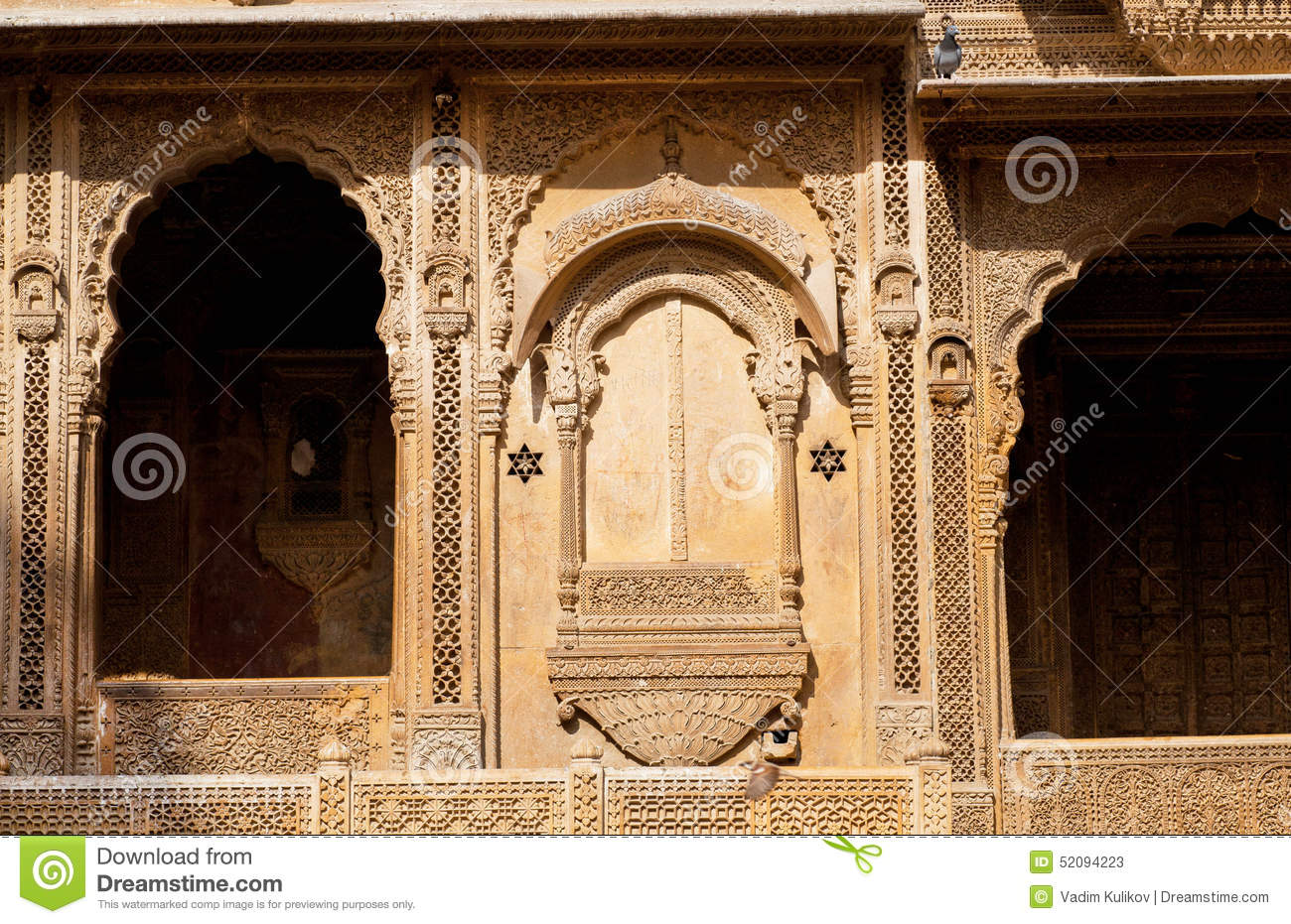 Jaisalmer Stone Elevation : Front of the old house with beautiful stone balconies