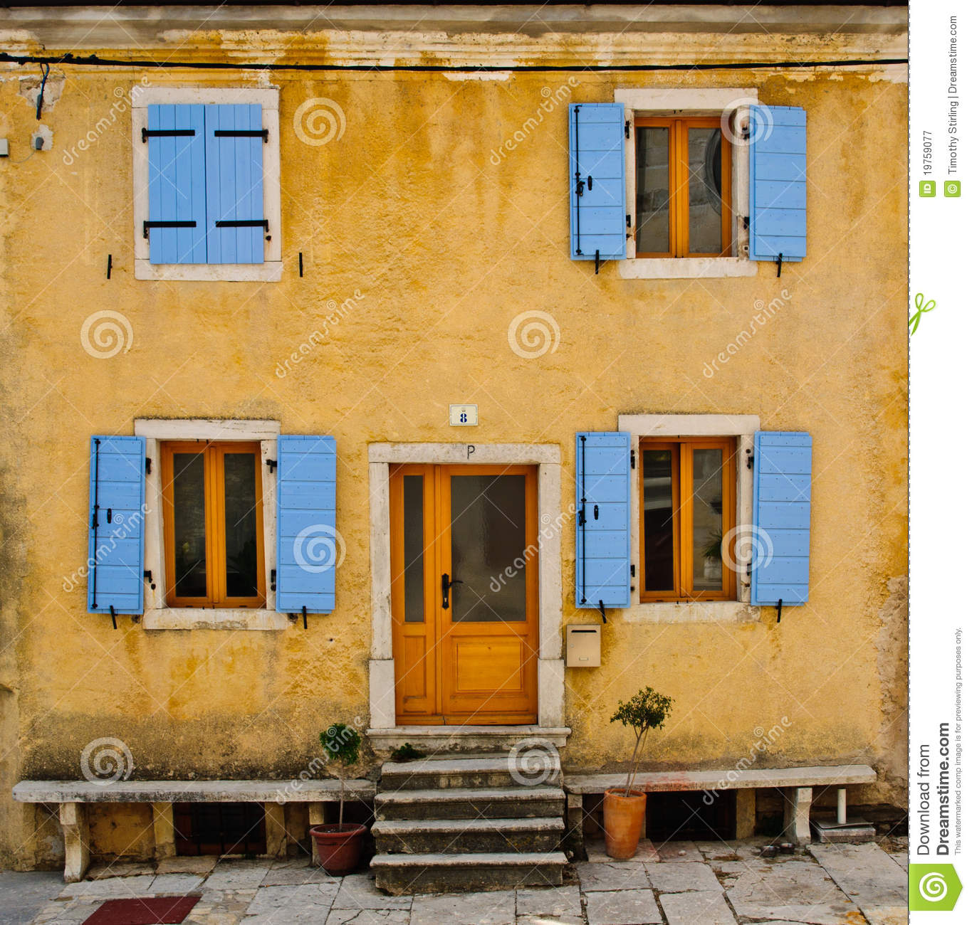 Front Of An Old House With Blue Shutters Royalty Free Stock ...