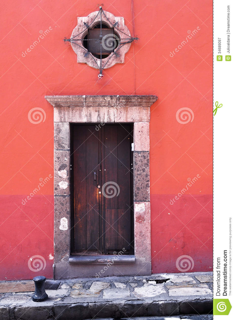 Front Of An Old Mexican House Colonial Style Door And