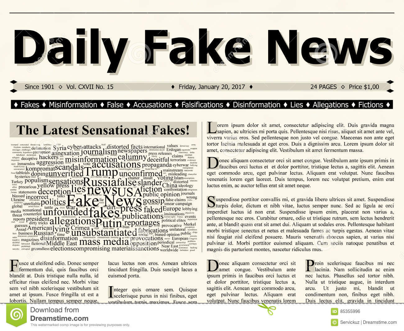 Front page of daily fake news mainstream newspaper title for Daily design news