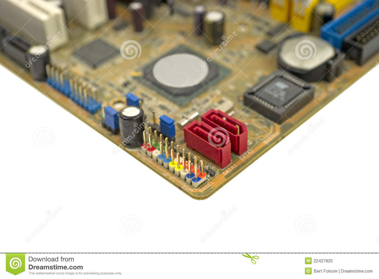 Front Panel Connectors On Computer Motherboard Stock Photo
