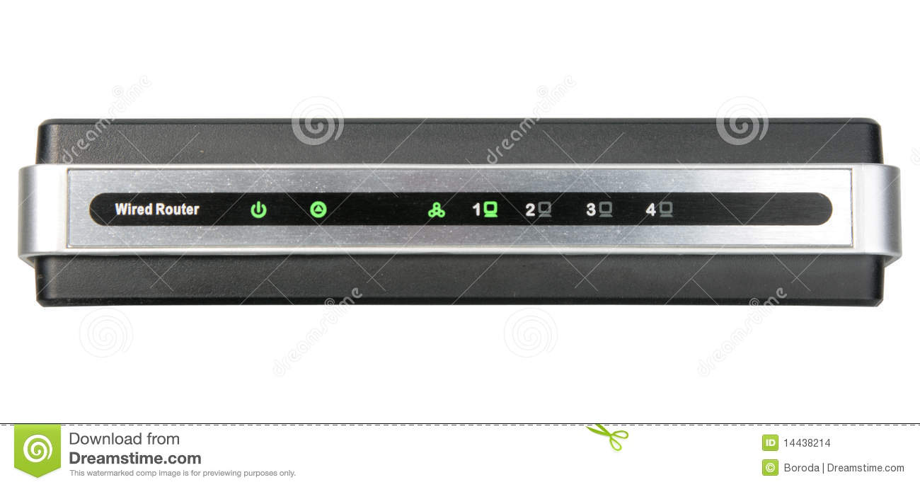Front Panel Of Network Wired Router Stock Photo - Image of metallic ...