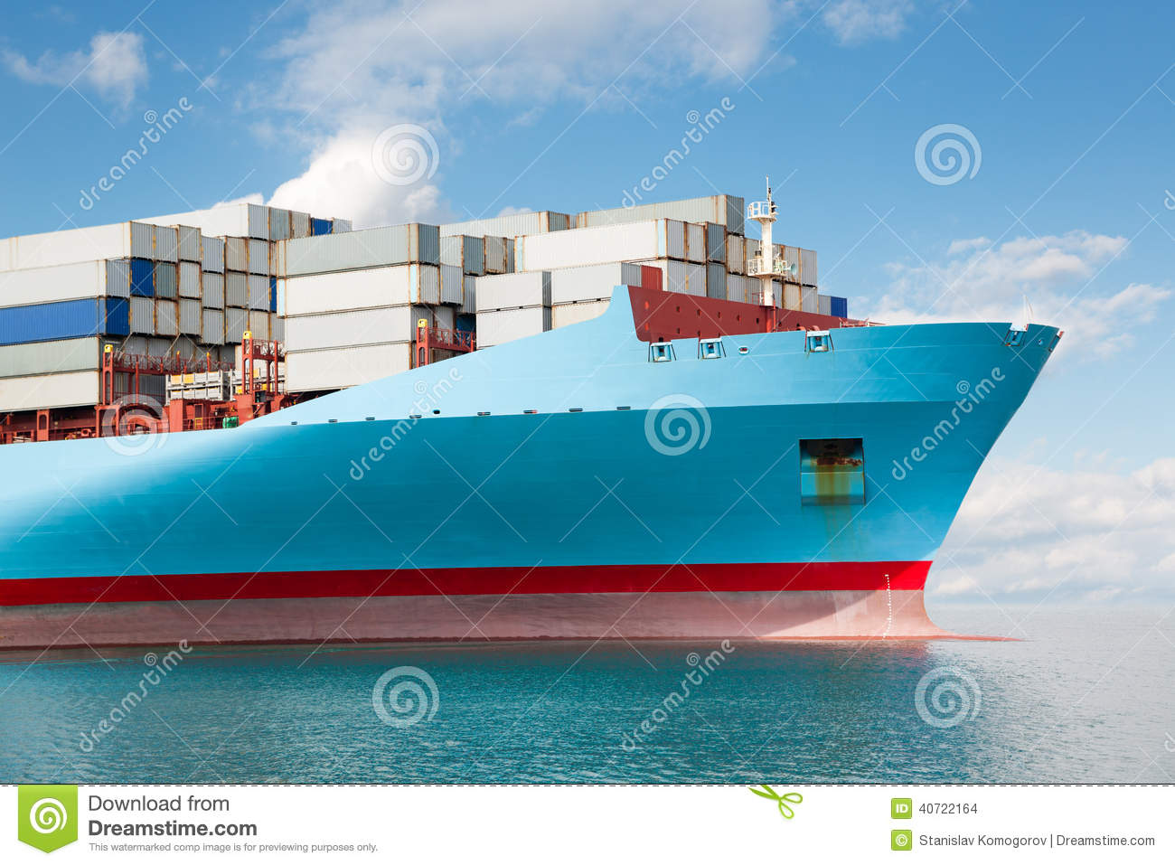 front part of a large container ship stock photo image