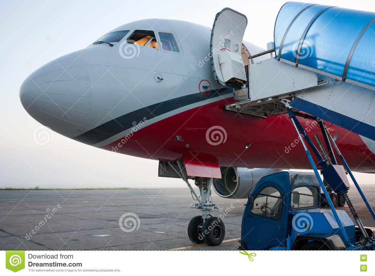 Front Of The Plane With Open Door Stock Image Image Of Ramp