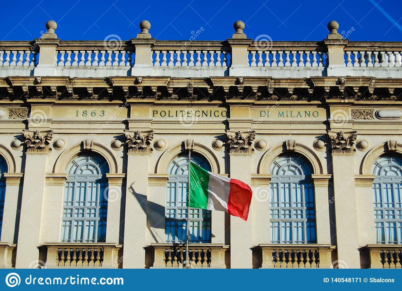 Front Of Polytechnic University Building Of Milan With Italian Flag Stock Image Image Of Graduation Milan 140548171