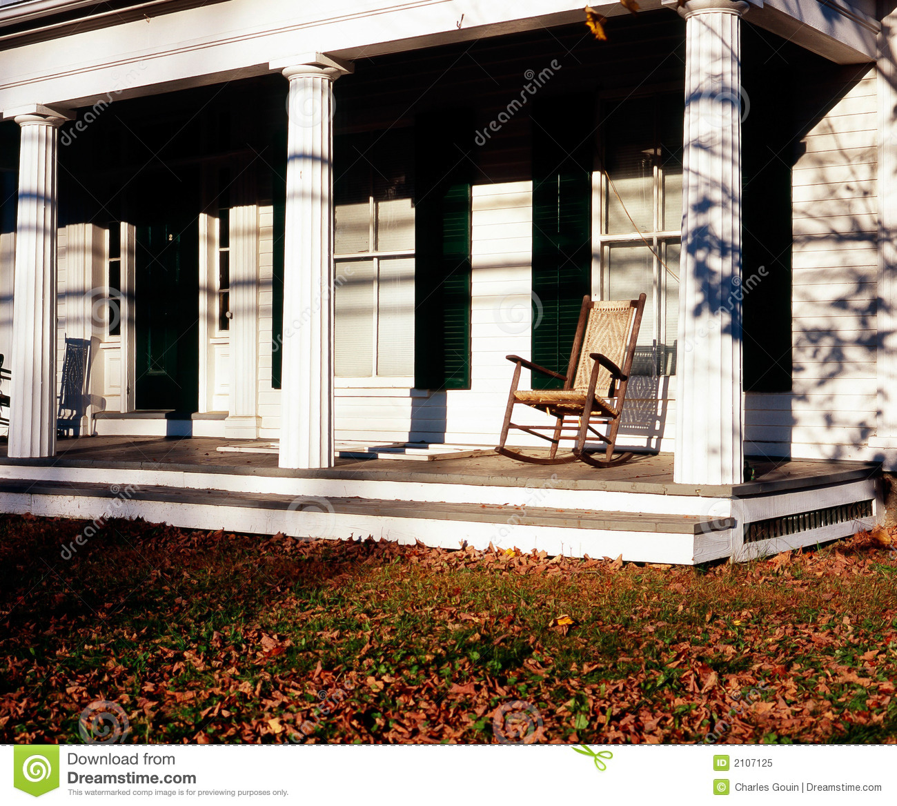 Front Porch Of Yellow House Stock Photo: Front Porch Royalty Free Stock Photo