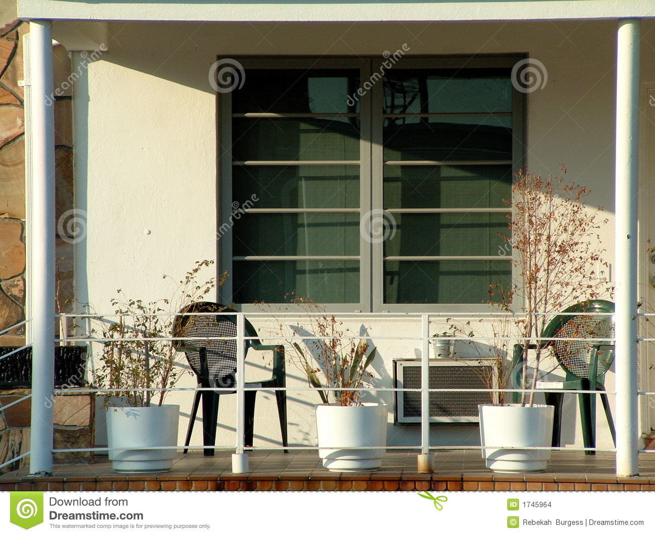 Front Porch In An Apartment Condominium Complex Stock