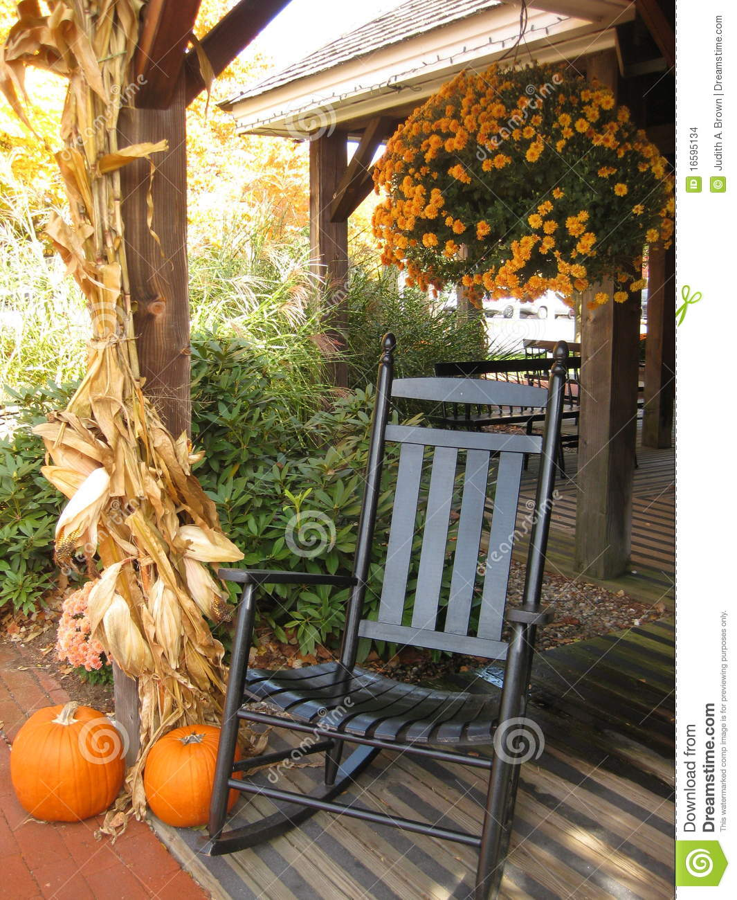 Front Porch In Autumn Stock Photo Image Of Rocking