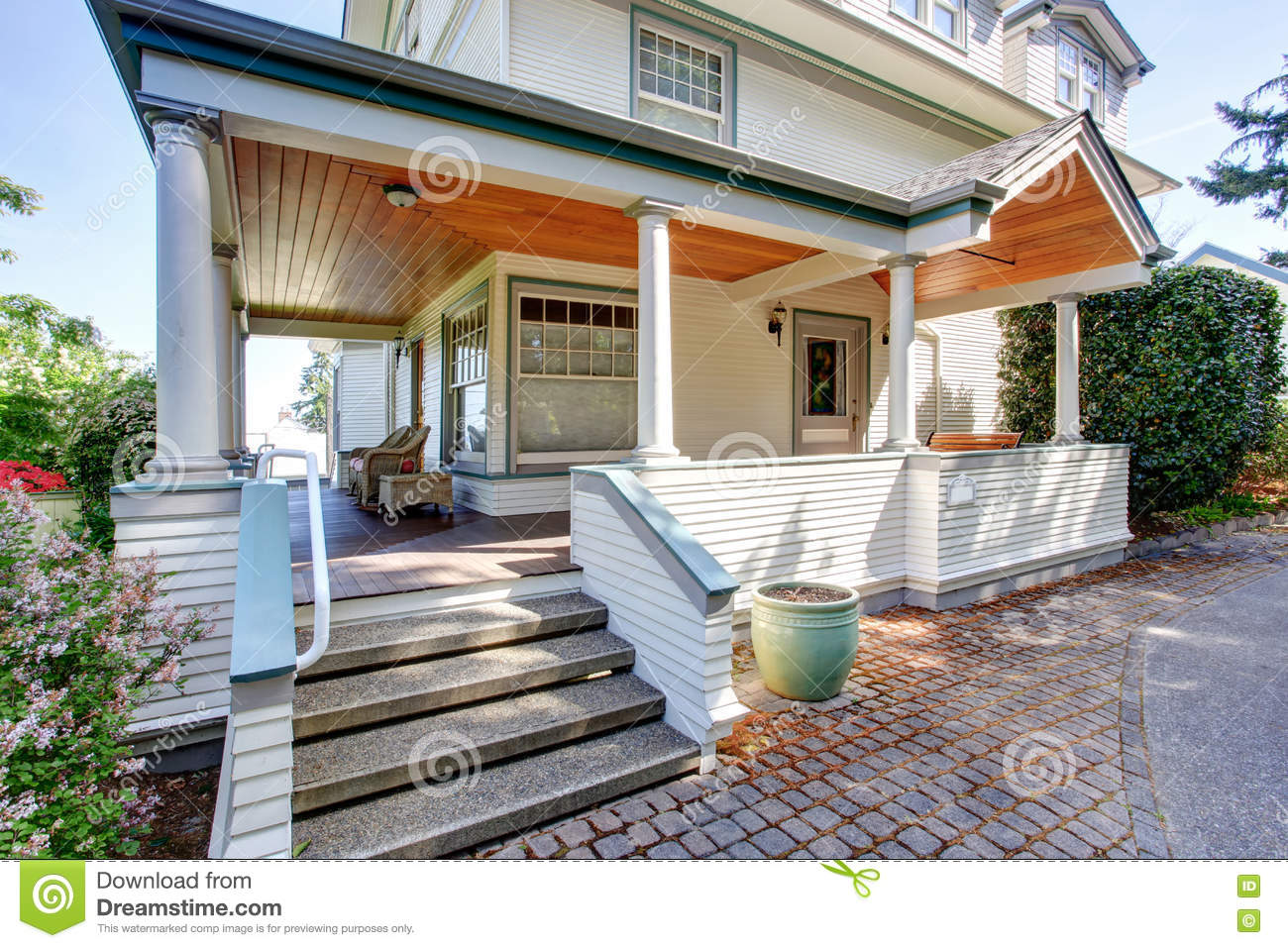 Covered front porch craftsman style home royalty free stock image - Front Porch With Chairs And Columns Of Craftsman Home Royalty Free Stock Images