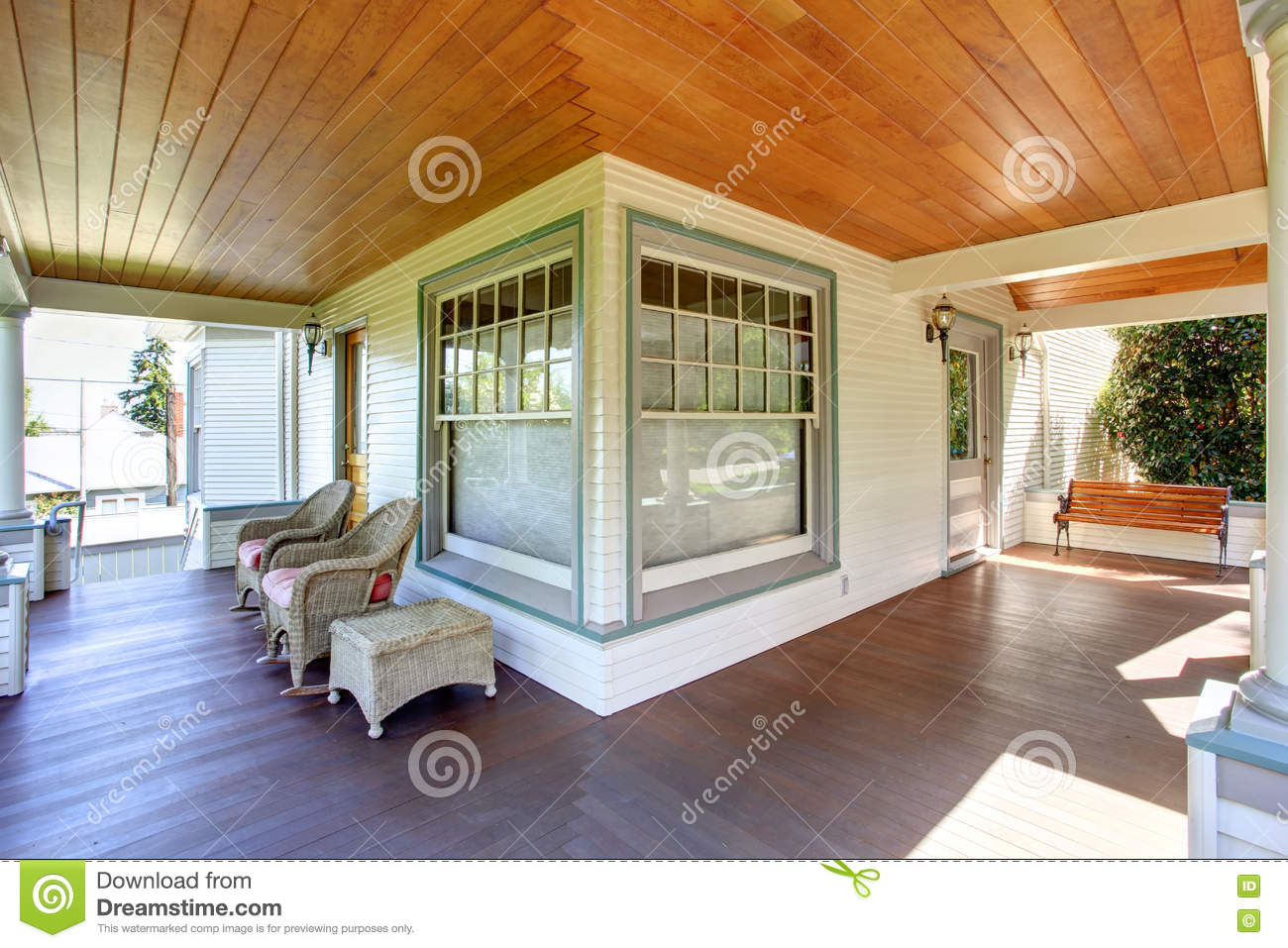 Covered front porch craftsman style home royalty free stock image - Royalty Free Stock Photo Front Porch With Chairs And Columns Of Craftsman Home Stock Photo