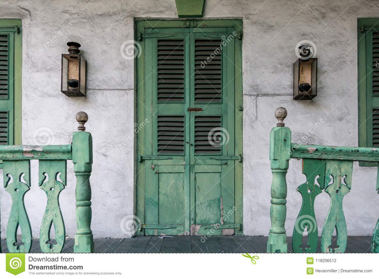 Front Porch With Green Door And Railing Stock Photo Image Of