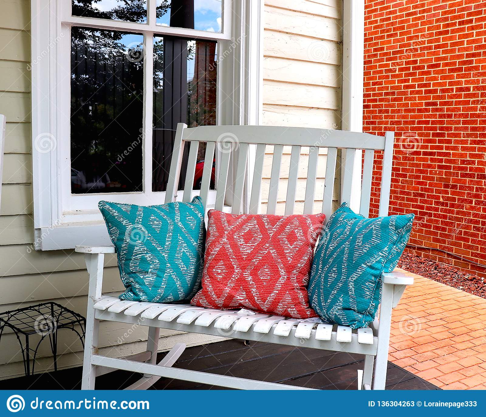 Image of: Front Porch Rocker And Pillows Stock Image Image Of Wooden Double 136304263