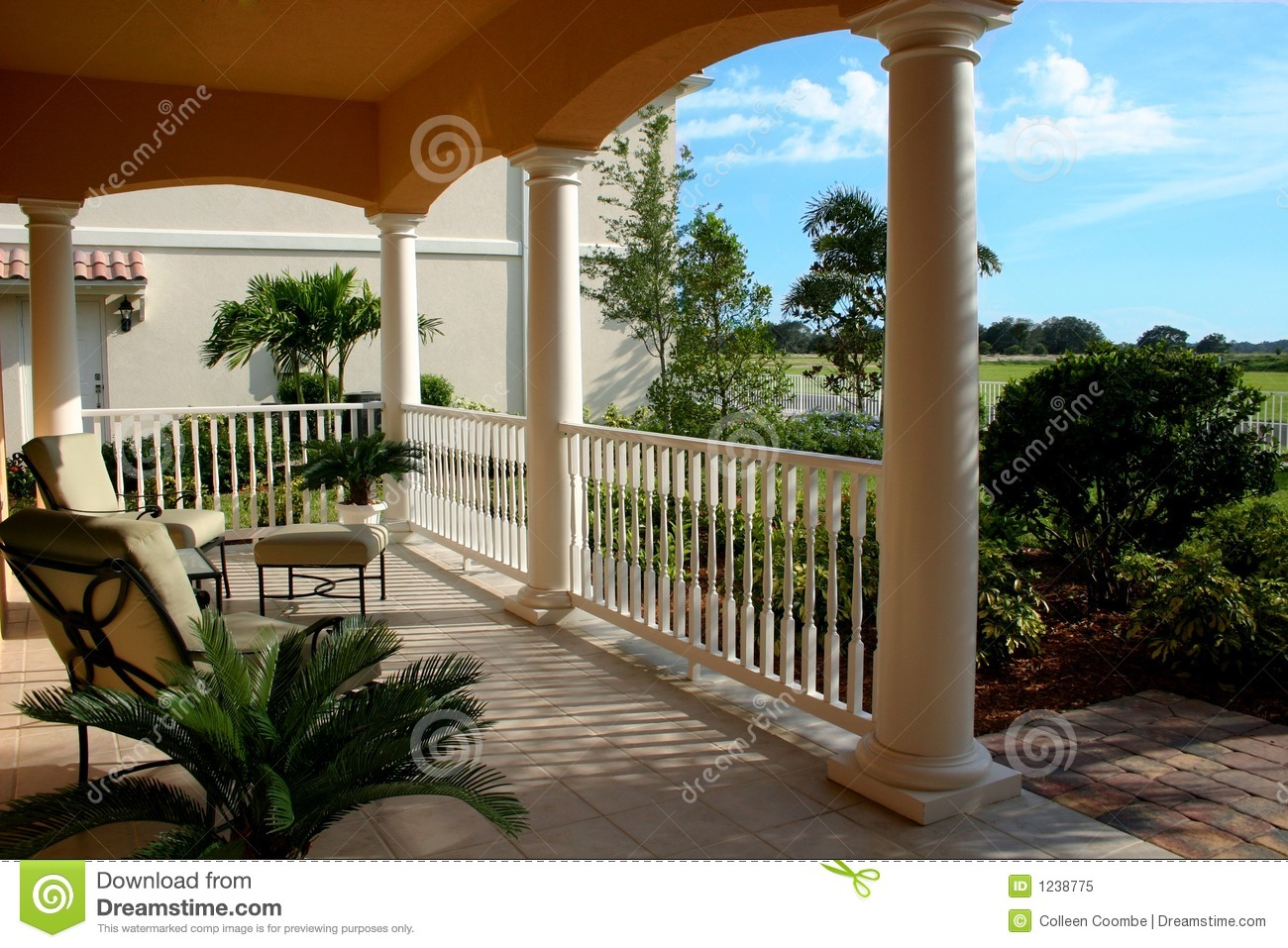 Front Porch Looking Out Stock Image Image Of Peach